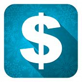 dollar flat icon, christmas button, us dollar sign