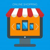 Online Shopping Concept. Vector Illustration In Flat Design Style