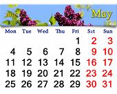 Calendar For May Of 2015 Year With Lilac