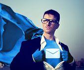 Envelop Star Strong Superhero Success Professional Empowerment Stock Concept