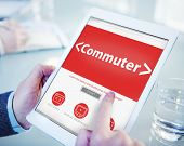 Digital Online Commuter Travel Transportation Office Browsing Concept