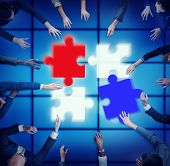 Jigsaw Puzzle Support Team Coopeartion Togetherness Unity Concept