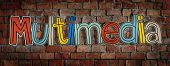 Multimedia Brick wall Single Word Text Background Clean Concept