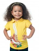 Cute afroamerican small girl smiling isolated on white