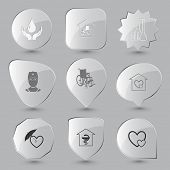 Medical set. Vector glass buttons.