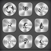 Abstract set. Vector round and square steel buttons.