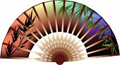 illustration with decorated fan isolated on white background