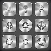 Ecology set. Vector round and square steel buttons.