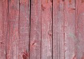 Texture Of Wooden Fence Painted With Red