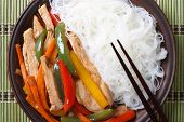 Chicken With Vegetables And Rice Noodles Closeup. Top View