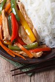 Asian Food Chicken With Rice Noodles Macro Vertical Top View