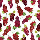 Red berry vector seamless pattern