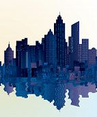 vector city skylines with reflection in water