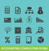 accounting consulting icons, signs set, vector