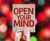 Open Your Mind card with colorful background with defocused lights