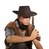picture of wild west  - Cowboy with gun on white background  - JPG