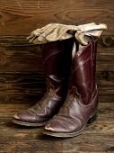 Rustic Image Of Boots And Gloves.