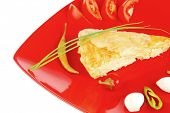 food : cheese casserole piece on red plate served with garlic , chives and tomatoes isolated over white
