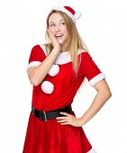 Excited Christmas woman in santa suit