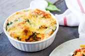 Baked Pasta With Spinach In Tomato Sauce