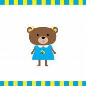 Cartoon Bear Girl Card  Flat Design