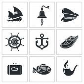 Sea Tourism Vector Icons Set