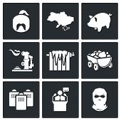 The Energy Crisis In Ukraine Vector Icons Set