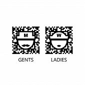 Toilet Vector Qr Code Sign
