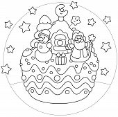 picture of fancy cake  - Holiday cake with Father Christmas - JPG