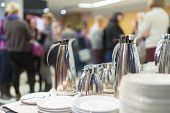 stock photo of buffet  - Coffee break at conference meeting - JPG