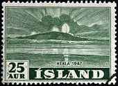 ICELAND - CIRCA 1947: A stamp printed in Iceland shows Hekla circa 1947