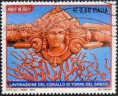 ITALY - CIRCA 2010: A stamp printed in Italy shows crafts Coral Tower of the Greek circa 2010