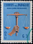 PARAGUAY - CIRCA 1960: A stamp printed in Paraguay dedicated to protection of human rights