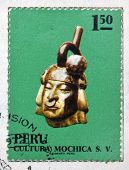 PERU - CIRCA 1972: A stamp printed in Peru dedicated to Mochica culture shows Ceramic circa 1972