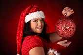 Christmas Portrait Of Beautiful Plus Size Young Woman