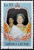 SIERRA LEONE - CIRCA 1985: A stamp printed in sierra Leone shows the Queen Mother