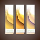 Set of banners with blurred background of yellow bananas, vector design