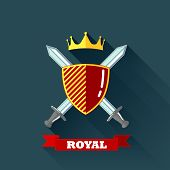 vector illustration with crossing swords, shield and crown in flat style. coat of arms
