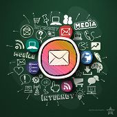Mobile marketing collage with icons on blackboard