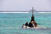A Cross As A Christian Sanctuary At Sea Off The Seychelles