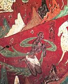 fresco of white deer on a red background, cave Dunhuang, Gansu Province, China
