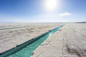 picture of salt mine  - Salt water pool on the Salinas Grandes salt flats in Jujuy province northern Argentina - JPG