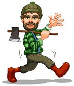 Illustration of a single lumberjack