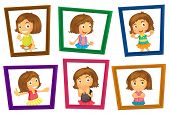 Illustration of many photo frames of a girl