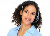 Operator woman with headsets isolated over white background