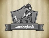 Illustration of a lumberjack and a sign