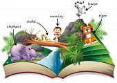 Illustration of a popup story book with many animals