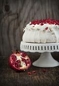 Pavlova Cake With Pomegranate. Meringue Cake With Pomegranate