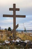 Wooden Cross On Old Pomeranian Cemetery