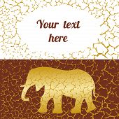 Beautiful card with golden elephant